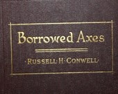 Borrowed Axes by Russell Conwell 1923 First Edition, Antique Books, Vintage Books, Dark Red Book, Dark Decor, Religious Book,