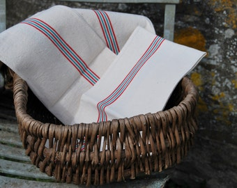 Fabulously French Antique Red & Green Retro Striped Linen Torchons Teatowels-perfect Trio for Chic Cuisines!