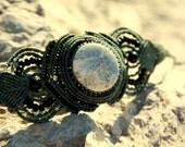 Romantic tribal macrame bracelet with dentric opal