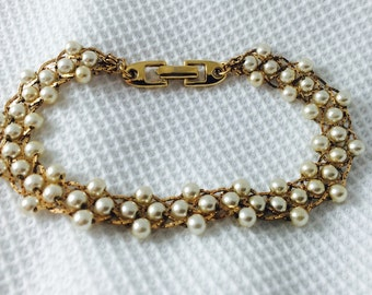 Napier Pearl and Gold Metal Link Bracelet