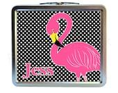 Pink Flamingo Classic Tin Lunch Box | Back To School | Preppy | Keepsake Box | Image on Both Sides