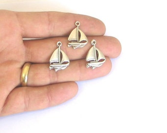 3 pcs - findings - supply - supplies- leather findings - pendant - tibetian silver - sailboat pendant - necklace
