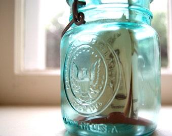 Vintage Ball 1976 Aqua Blue Bicentennial Jar with Original Literature