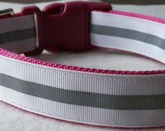 White Reflective on Pink Dog Collar (large)