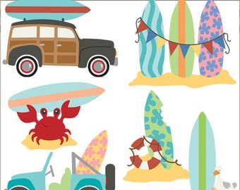 Surfboards Clipart -Personal and Limited Commercial Use- surfing and beach clip art