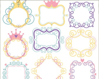 Swirly Frame Clipart  -Personal and Limited Commercial Use- crown and swirls frame clip art