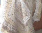 Shades of White, Cream and Beige Textured Crochet Afghan (Lap rug/throw) - Mother's Day gift