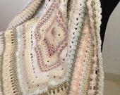 Crochet Stitch Sampler Afghan in Dusty Pastel Shades.  Lap Rug/Throw.