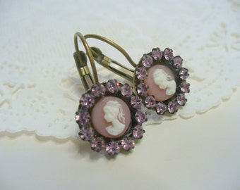 Pink and White Cameo Earrings, Pink Rhinestone Dangle Earrings, French Lady Cameo Earring, Womens Jewelry, Antique Brass, Pink Cameo Jewelry
