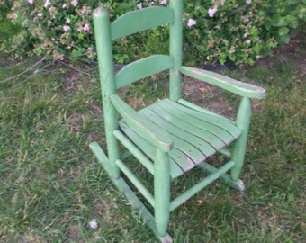 Rustic Wooden Child's Rocking Chair, Original Green Paint