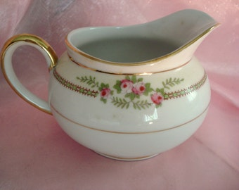 Vintage Noritake China Creamer Pink Rose on White U.S. Patent Applied For Japan Shabby Cottage Chic