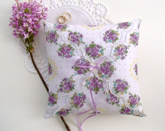 Ring Bearer, Purple Floral Ring Bearer Pillow, Ring Cushion, Wedding Ring Holder Lavender White Rustic Garden Barn Country Wedding Accessory