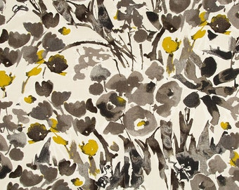 Mustard Yellow Floral Drapery Fabric - Digital Print Fabric - Grey Abstract Floral Upholstery Yardage - Yellow Window Treatment Material