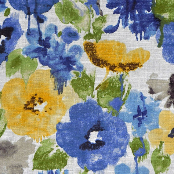 Royal Blue Watercolor Floral Upholstery Fabric By