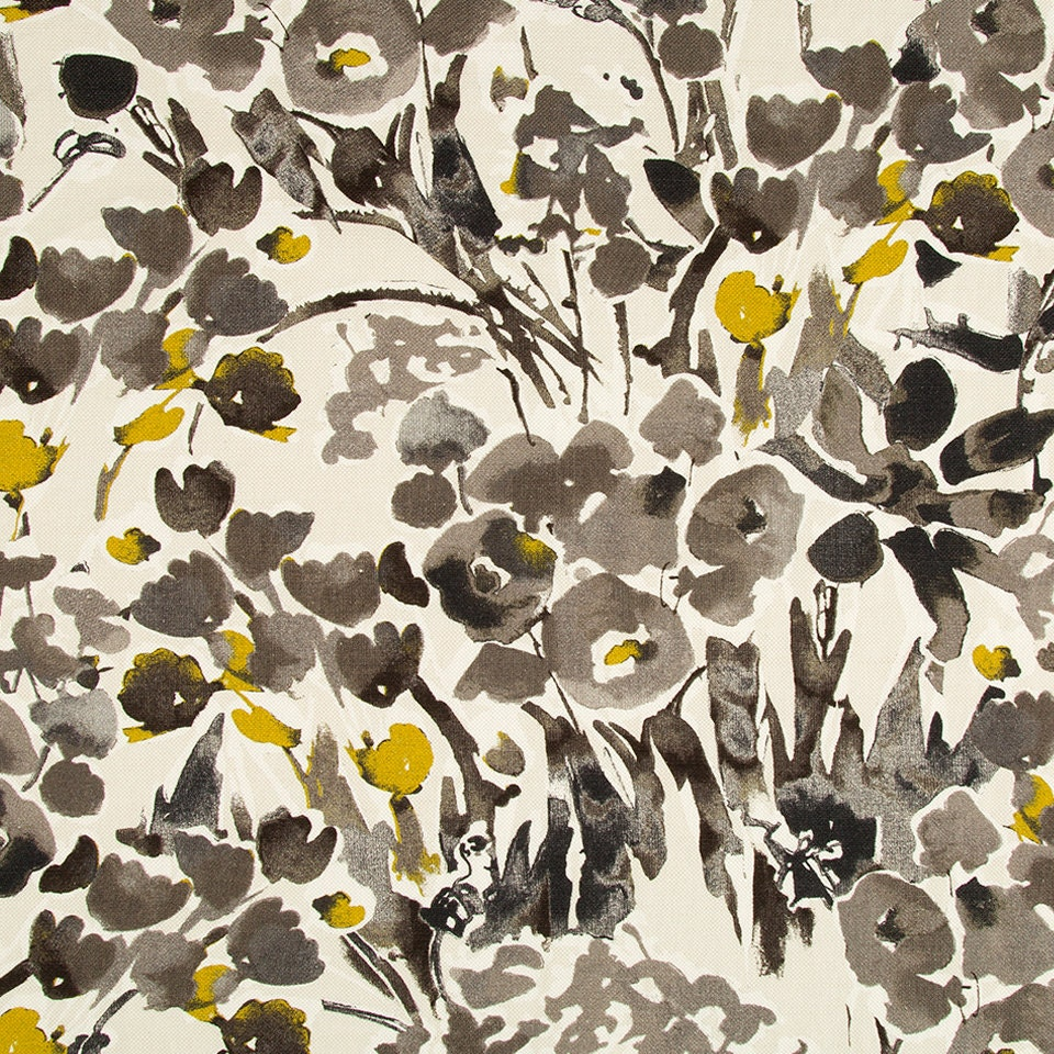 Mustard Yellow Floral Drapery Fabric Digital Print Fabric