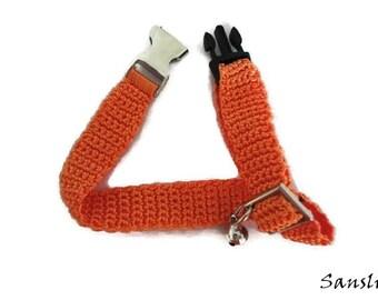 Cat collar-collar cat-adjustable collar-custom collar-crochet cat collar-cat accessories-.Adjustable cat collar orange with Bell