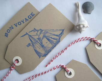 Nautical Set of 10 Gift Tags Tied with Red & White Baker's Twine, Beach Tags or Place Settings, Hand-Stamped in Blue on Kraft, 5 Designs