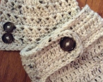 Crochet Baby Hat and Diaper Cover, Baby Boy, photo prop, shower gift, tweed, oatmeal, cream, ready to ship
