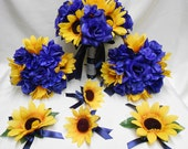 Wedding Silk Flower Bridal Bouquets Your Colors 18 pcs Package Yellow Sunflower Navy Blue Bridesmaids  Boutonnieres Corsages FREE SHIPPING