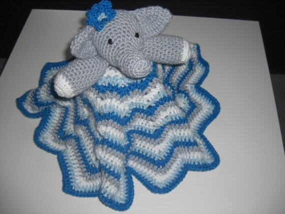 Crochet Elephant Lovey Blanket, Baby Security Blanket; , blue, grey
