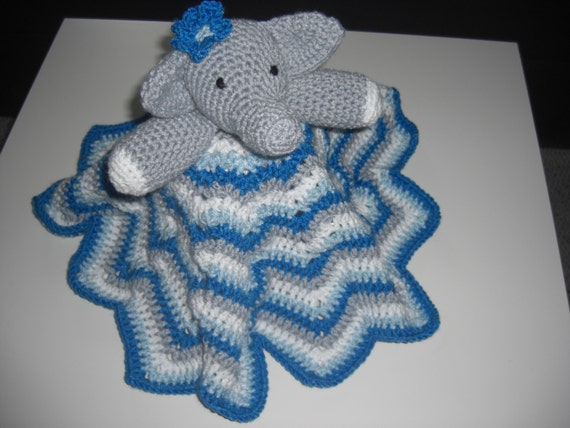Crochet Elephant Blanket : Crochet Elephant Lovey Blanket, Baby Security Blanket; , blue, grey