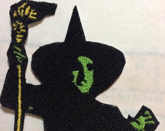 Iron On Patch Wicked Witch Green Face with Broom