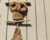 Vintage 70s Brown Macrame Owl Wall Hanging - brown eyes - 22 inches long