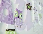 Purple Lavender Green and Brown Owl Wonderland Whimsical Wooden Nursery Letters