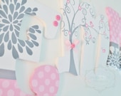 White, Pink, and Gray Whimsical Birds and Trees Wooden Nursery Letters