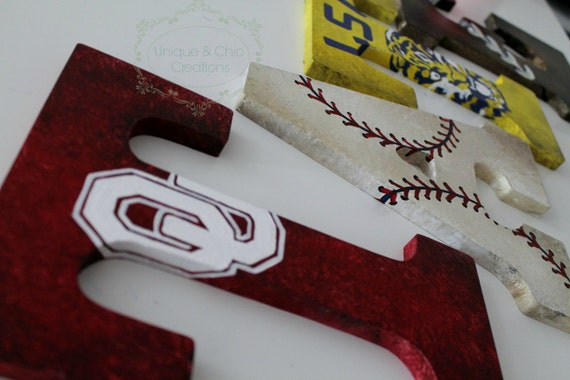 Vintage Varsity Sports Themed Hand Painted Personalized Wooden