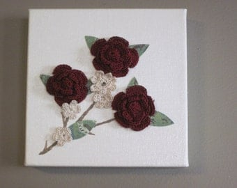 Canvas Art with Crocheted Flowers Wall Art Home Decor