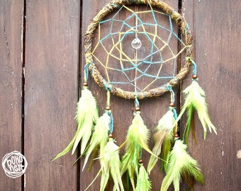 SALE -20%  --  Dream Catcher - Green Sea - With Crystal Prism and Green Feathers - Boho Home Decor, Nursery Mobile