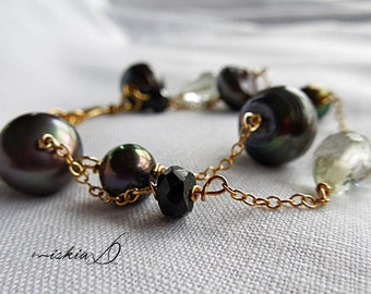 Black Pearl Bracelet, Tahitian Style Pearl Bracelet, with Black Tourmaline, Green Amethyst and Gold Vermeil Beads