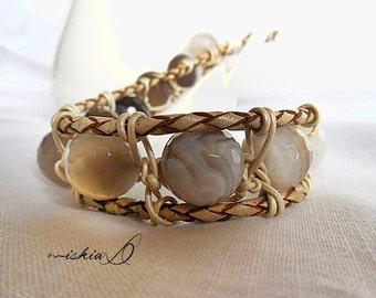 Botswana Agate, Wrapped Bracelet, Men's Agate Bracelet, Healing Bracelet, Spirituality, Leather Bracelet Men