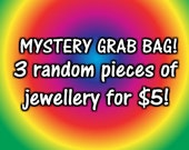 Mystery Jewelry Grab Bag! 3 pieces of jewellery for 5 dollars! Fab Stocking filler! sale, earrings, necklaces, rings, bracelets! Lucky Dip!