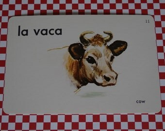 "Vintage 1962 ""Cow"" Picture & Word Flash Card, Choice of English (cow), French (la vache), Spanish (la vaca), Whitman Publishing, Racine, WI"
