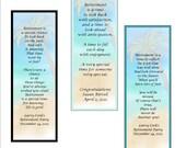Retirement Bookmark Favors - personalized - bookmark favors, retirement keepsake - set of 10 bookmarks
