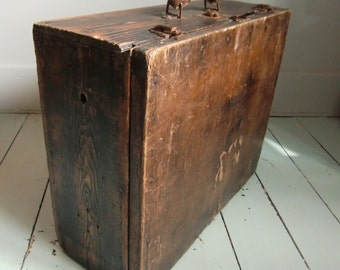 Antique Wooden Trunk / Suit Case - Shabby
