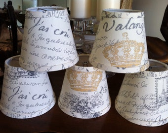 Chandelier lampshades rustic french script in a natural cotton black and  gold script shades