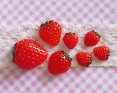 7 pcs Strawberries Cabochons, 3 different sizes, Red Strawberry Cabochons, Strawberry Flatback
