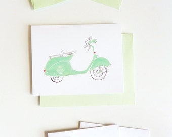 Set of 5 Mint Green Vespa Cards