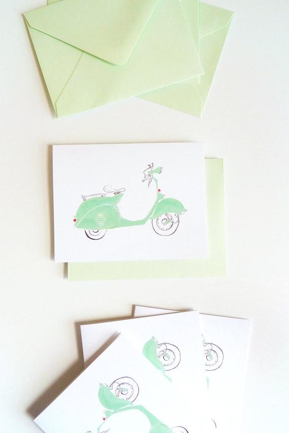 Set of 5 Mint Green Vespa Cards