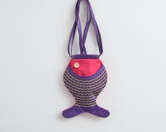 Fish Purse Hot Pink Purple Bag Hipster Bag Ocean Inspired Summer Bag Color Block Beach Accessories Funny Bag Kawaii Cute Bag Kidswear