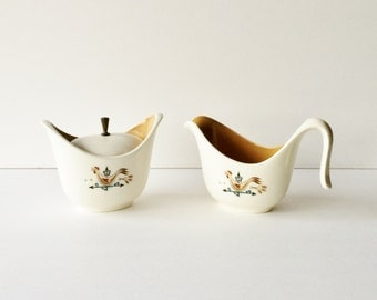 Vintage Mid Century Weathervane Creamer and Sugar by Taylor Smith and Taylor Ever Yours Shape Retro Breakfast Tableware