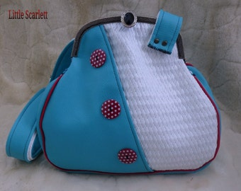 retro shoulder bag leather white and turquoise