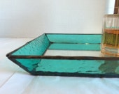 Stained Glass Jewelry Tray - Textured and Aqua