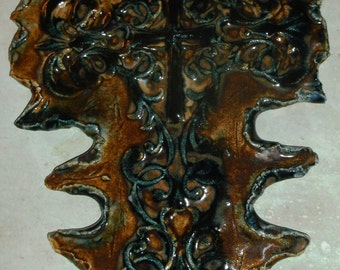 Large Wall Cross Beautiful Black Brown Multi Glazed Detailed One of a Kind On Sale