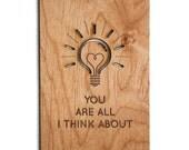 Lightbulb Thinking of You Wood Anniversary Card
