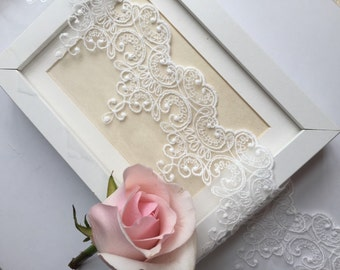 2 yards vintage embroidered lace trim.  Wedding lace.  Veil gloves making.  DIY fabric.