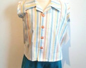 OOAK Striped Shirt and Shorts Set - Size 12m-18m for Boys or Girls